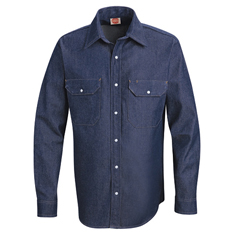 UNFSD78DN-LN-L - Red KapMens Deluxe Denim Shirt