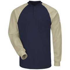 UNFSEL4NK-RG-XL - BulwarkMens Color-Block Tagless Henley Shirt - EXCEL FR®