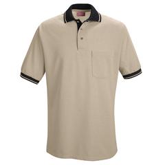 UNFSK14TB-SS-L - Red KapMens Performance Knit® Contrast Trim Shirt