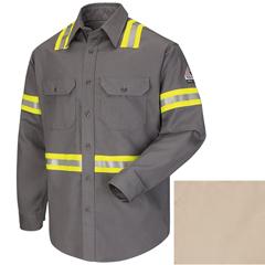 UNFSLDTKH-RG-L - BulwarkMens Uniform EXCEL FR® Comfortouch® Dress Shirt - Enhanced Visability