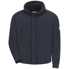 UNFSMH6NV-RG-L - BulwarkMens Zip-Front Hooded Modacrylic Fleece Sweatshirt