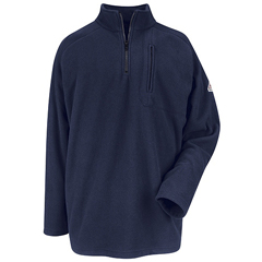 UNFSMZ6NV-RG-M - BulwarkMens Quarter Zip-Front Modacrylic Fleece Sweatshirt
