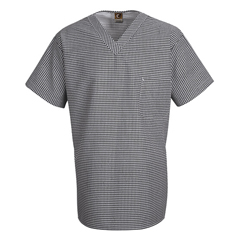 UNFSP08WB-SS-M - Chef DesignsMens Checked V-Neck Chef Shirt