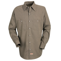 UNFSP14KB-RG-L - Red KapMens Geometric Micro-Check Work Shirt