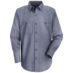 UNFSP14KN-RG-XL - Red KapMens Industrial Stripe Work Shirt