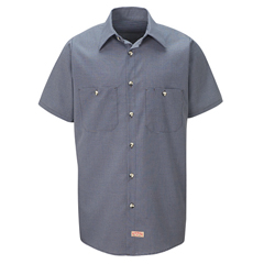 UNFSP20EX-SSL-L - Red KapMens Micro-Check Uniform Shirt