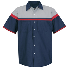 UNFSP24AC-SS-L - Red KapMens Performance Tech Short Sleeve Shirt