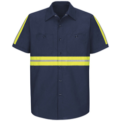 UNFSP24EN-SSL-L - Red KapMens Enhanced Visibility Industrial Work Shirt
