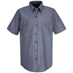 UNFSP24KN-SSL-L - Red KapMens Industrial Stripe Work Shirt