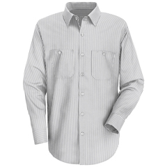 UNFSP50CW-RG-S - Red KapMens Striped Uniform Dress Shirt