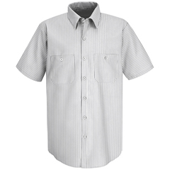 UNFSP60CW-SS-XL - Red KapMens Striped Uniform Dress Shirt