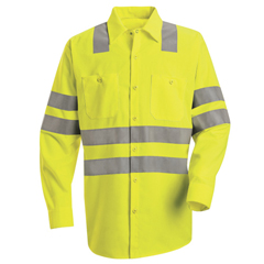 UNFSS14AB-RG-XXL - Red KapMens Hi-Vis Work Shirt - Class 3 Level 2
