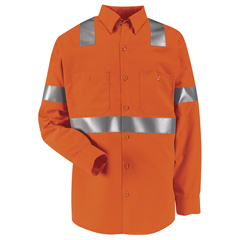 UNFSS14O2-LN-XL - Red KapMens Hi-Vis Work Shirt - Class 2 Level 2