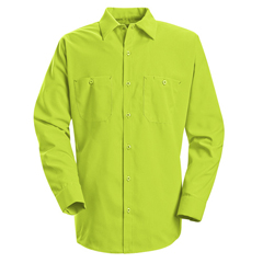 UNFSS14YE-LN-L - Red KapMens Enhanced Visibility Work Shirt