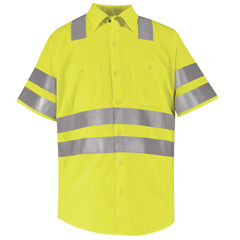 UNFSS24AB-SS-4XL - Red KapMens Hi-Vis Work Shirt - Class 3 Level 2