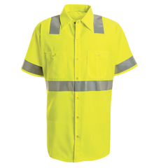 UNFSS24HV-SS-M - Red KapMens Hi-Vis Work Shirt - Class 2 Level 2