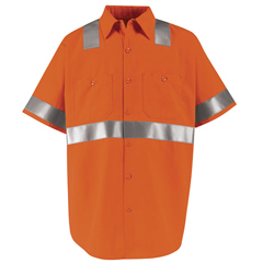 UNFSS24O2-SS-3XL - Red KapMens Hi-Vis Work Shirt - Class 2 Level 2