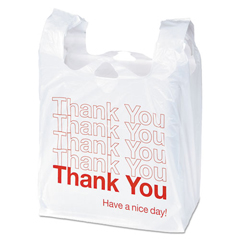 UNV63036 - Plastic Thank You Shopping Bag, 11.5 x 3.15 x 22, 0.55 mil, White/Red, 250/BX