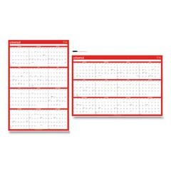 UNV71004 - Erasable Wall Calendar, 24 x 36, White/Red, 2021
