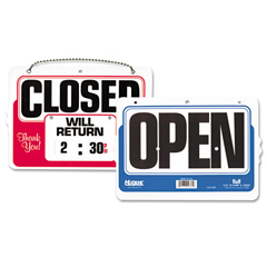 USS9385 - Headline® Sign Double-Sided Open/Closed Sign with Dial-A-Time Will Return Clock