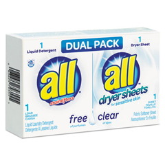 VEN2979355 - All® Free Clear HE Liquid Laundry Detergent/Dryer Sheet Dual Vending Pack