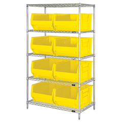 QNTWR5-955YL - Quantum Storage Systems - 24 Hulk Container Wire Shelving Systems