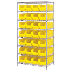 QNTWR8-950YL - Quantum Storage Systems - 24 Hulk Container Wire Shelving Systems