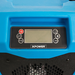 XPOXD-85LH-BLUE - XPOWER - 145-Pint LGR Commercial Dehumidifier with Automatic Purge Pump, Drainage Hose, Handle and Wheels for Water Damage Restoration, Clean-up Flood, Basement, Mold, Mildew - Blue
