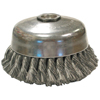 Anderson Brush Single Row Knotted Wire Cup Brush, Us Series, 6 In Dia., .025 Carbon Steel Wire ANB 066-17455