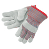 Safety-zone-leather-gloves: Memphis Glove - Industrial Standard Shoulder Split Gloves, X-Large, Leather, Red And Gray Fabric