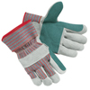 Safety-zone-leather-gloves: Memphis Glove - Industrial Standard Shoulder Split Gloves, Large, Leather, Gray W/Red Stripes