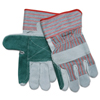 Safety-zone-leather-gloves: Memphis Glove - Industrial Standard Shoulder Split Gloves, X-Large, Leather, Gray W/Red Stripes