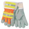 Safety-zone-nylon-gloves: Memphis Glove - Luminator Leather Palm Gloves, Large, Leather/Nylon, Orange/Gray