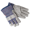 Safety-zone-leather-gloves: Memphis Glove - Select Shoulder Split Cow Golve, Large, Blue/Red/Blk Striped Fabric/Gray Leather