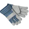 Memphis Glove Select Split Cow Gloves, Large, Blue Fabric W/Yellow Stripes CRW 127-1400A
