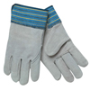 Safety-zone-leather-gloves: Memphis Glove - Select Split Cow Gloves, X-Large, Gray/Blue With Blue/Yellow/Black Stripes