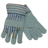 Memphis Glove Select Split Cow Gloves, Large, Leather, Gray/Brown W/Blue/Yellow/Black Stripes CRW 127-1450L