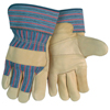 hand protection: Memphis Glove - Grain Leather Palm Gloves, Large, Blue/Red/Black Striped Fabric;Beige Leather