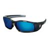 Crews Swagger Safety Glasses, Blue Diamond Mirror Polycarbon Lenses, Black Frame CRW 135-SR118B