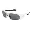 Crews Swagger Safety Glasses, Gray Polycarbonate Anti-Fog Lenses, White Frame CRW 135-SR122AF
