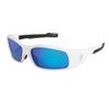 Crews Swagger Safety Glasses, Blue Diamond Mirror Polycarbon Lenses, White Frame CRW 135-SR128B