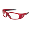 Crews Swagger Safety Glasses, Clear Polycarbonate Lenses, Red Polycarbonate Frame CRW 135-SR130