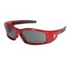 Crews Swagger Safety Glasses, Gray Polycarbonate Anti-Fog Lenses, Red Frame CRW 135-SR132AF