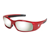 Crews Swagger Safety Glasses, Silver Mirror Polycarbonate Lenses, Red Frame CRW 135-SR137