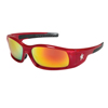 Crews Swagger Safety Glasses, Fire Mirror Polycarbonate Lenses, Red Frame CRW 135-SR13R