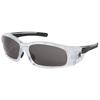 Crews Swagger Safety Glasses, Gray Polycarbon Lenses, Clear/Black Frame CRW 135-SR142AF