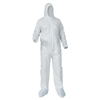 Kimberly Clark Professional KleenGuard® A35 Coveralls,Zipper Front;Elastic Wrists/Ankles,Hood, Boots,White,XL KIM 138-38951