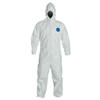 Protection Apparel: DuPont - Tyvek Coveralls With Attached Hood, Serged Seams, Medium, White