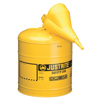 Justrite Type I Safety Cans W/Funnel, Flammables, 5 Gal, Yellow JUS 400-7150210