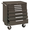 tool storage: Kennedy - Industrial Series Roller Cabinets, 29 X 20 X 35 In, 7 Drawers, Brown, W/Slide